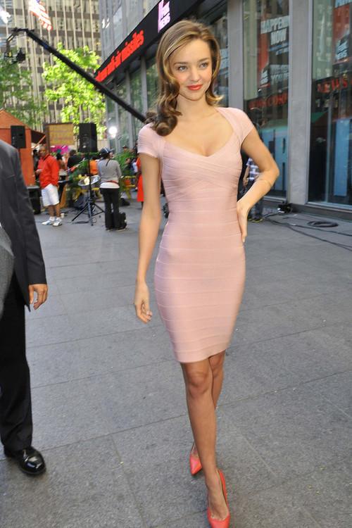 Miranda Kerr Pink Bandage Dress And Heels StyleChi