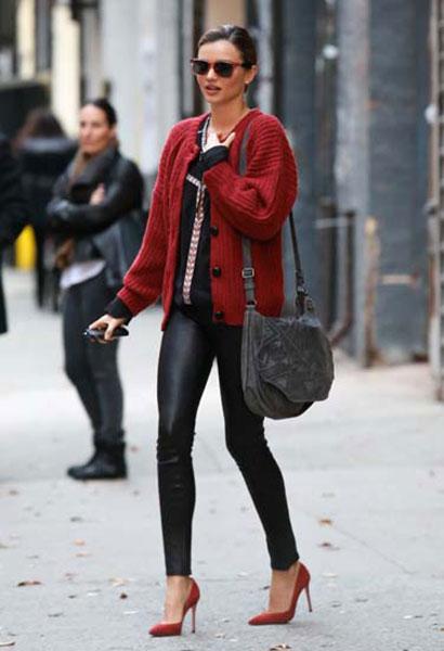 Miranda Kerr Red Isabel Marant Cardigan Leather Trousers Red Heels StyleChi