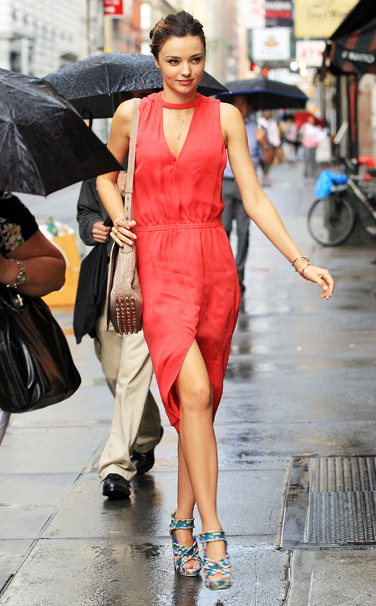 Miranda Kerr Red Summer Dress StyleChi