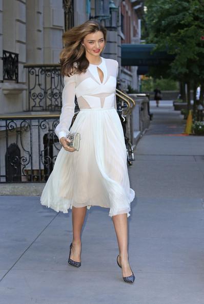 Miranda Kerr Sheer Panel Below The Knee Long Sleeved White Dress StyleChi