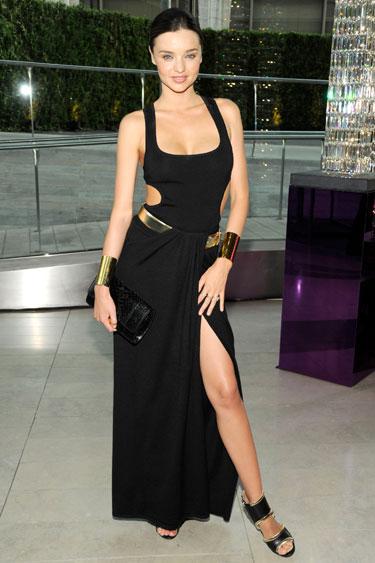 Miranda Kerr Split Black Cut Out Dress StyleChi