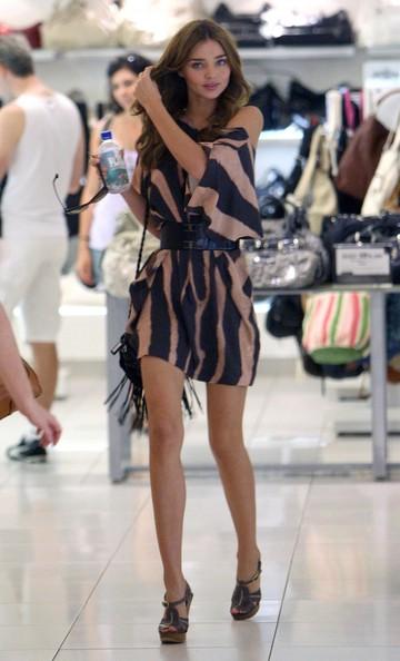 Miranda Kerr Stripey Blue Beige Belted Dress StyleChi