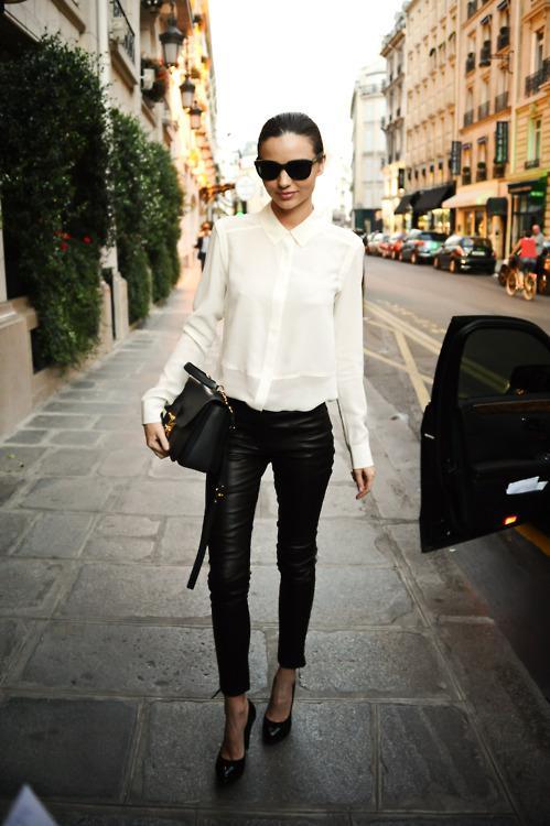 Miranda Kerr White Shirt Leather Trousers StyleChi