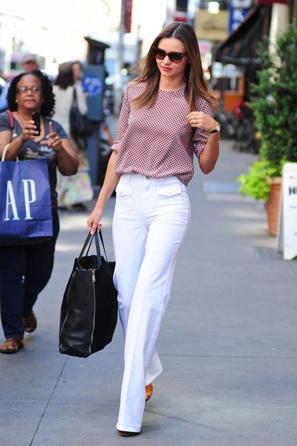 Miranda Kerr White Trousers StyleChi