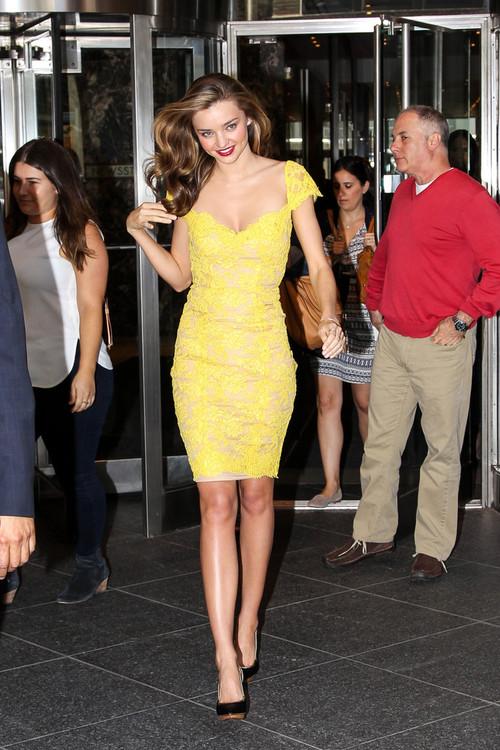 Miranda Kerr Yellow Lace Dress StyleChi