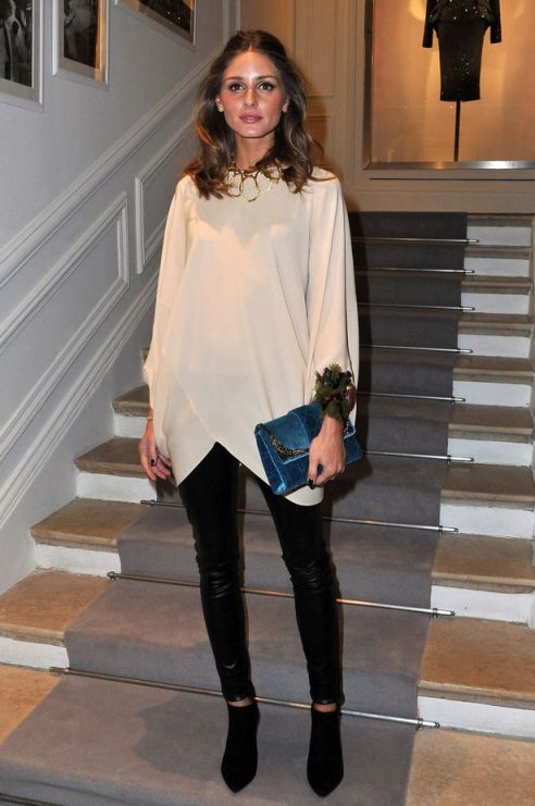 Olivia Palermo at the Dior Haute-Couture 2012 show during Paris Fashion Week Leather Trousers Black Shoe Boots Blue Clutch StyleChi