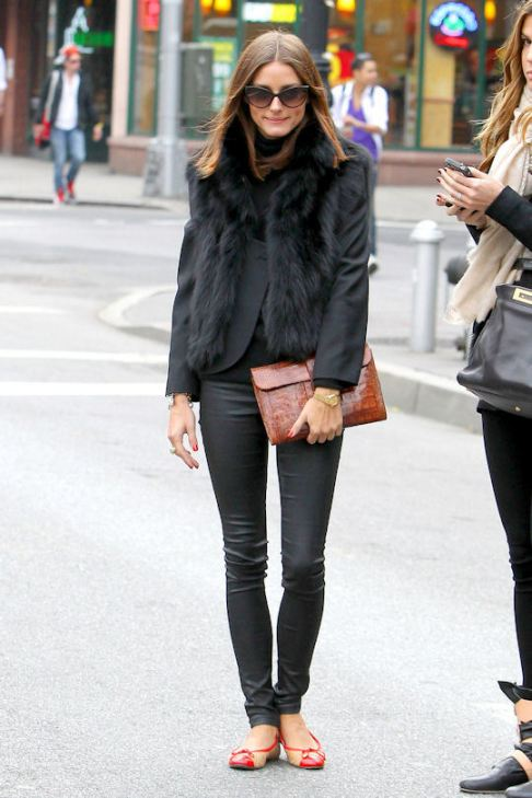 Olivia Palermo Beige Red Ballerinas Fur Gilet Black  Jacket Leather Trousers Brown Clutch Sunglasses StyleChi