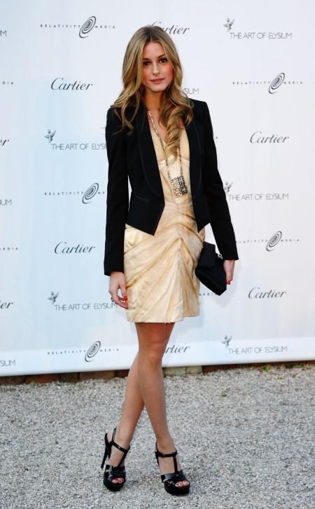 Olivia Palermo Black Blazer Sandals And Clutch Champagne Dress StyleChi