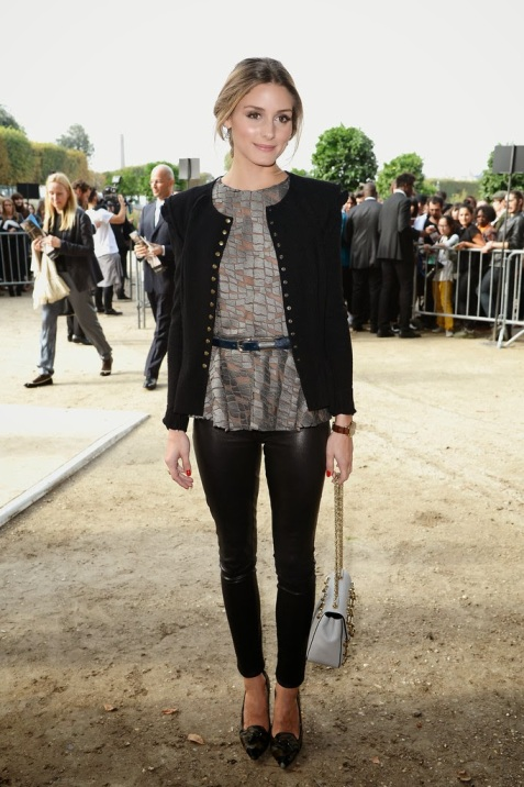 Olivia Palermo Black Leather Trousers Jacket Belted Top Pony Hair Camo Pointed Heels StyleChi