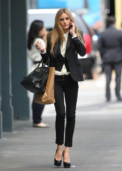 Olivia Palermo Black Suit Waistcoat WHite Shirt Platform Heels StyleChi