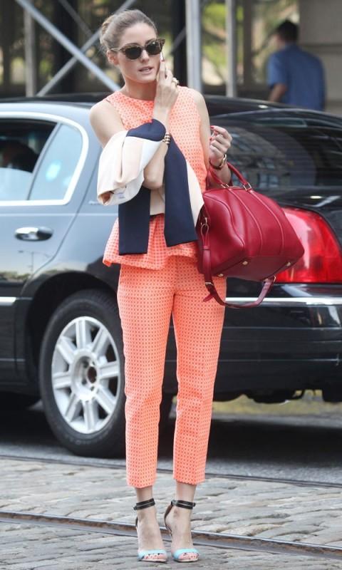 Olivia Palermo Coral Suit Trousers Peplum Top Deep Red Bag Black Sky Blue Heels Sunglasses StyleCHi