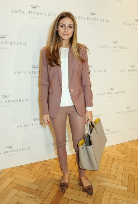 Olivia Palermo Dusk Pink Blazer Leather Trousers Pointed Slippers StyleChi