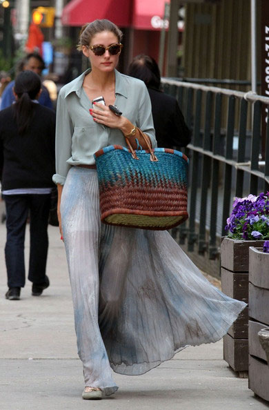 Olivia Palermo Floaty Maxi Skirt Green Shirt Ballerinas Sunglasses StyleChi