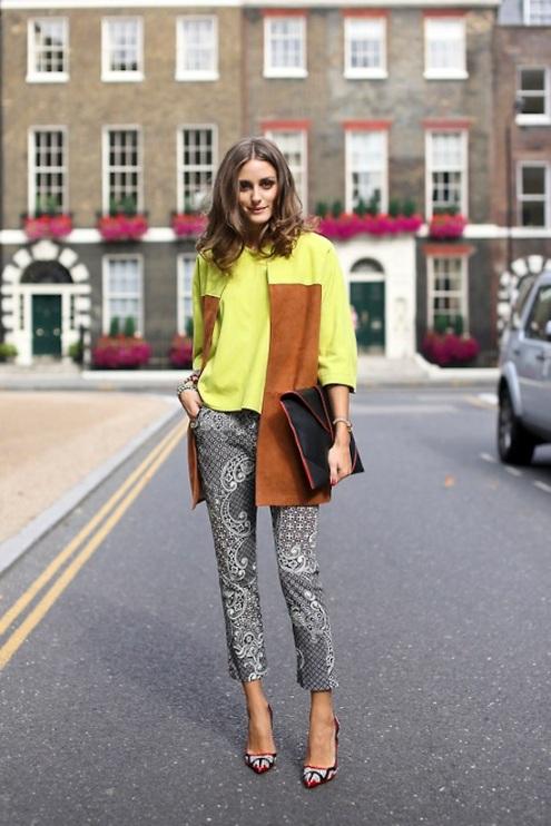 Olivia Palermo London FashionWeek Jacquard Trousers Yellow top And Jacket Black Clutch StyleChi