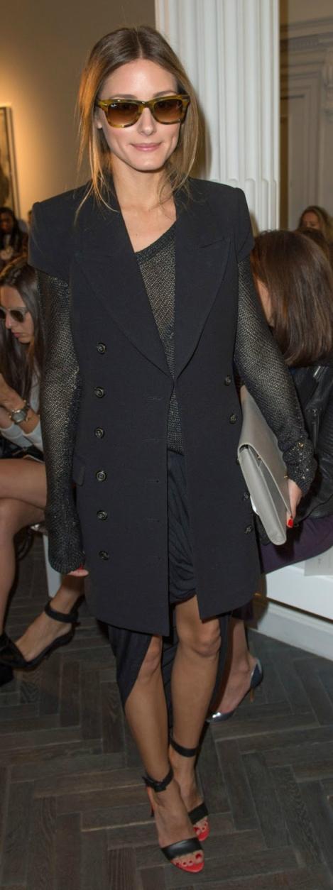 Olivia Palermo Navy Short Sleeved Coat Hi Lo Black Skirt Black Heels Sunglasses StyleChi