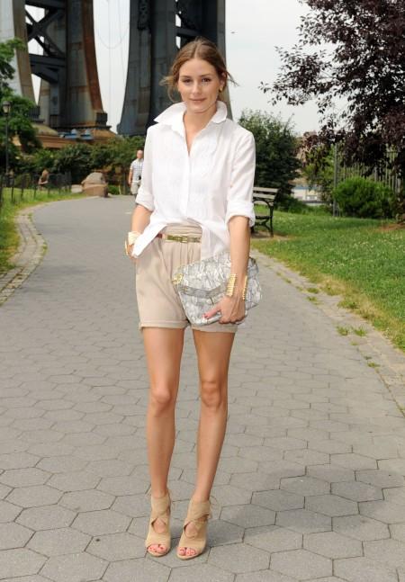 Olivia Palermo Olivia Joy Clutch White SHirt Beige Shorts Sandals StyleCHi