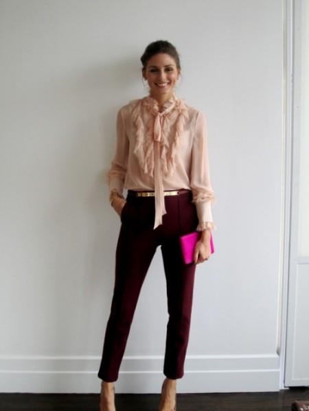 Olivia Palermo Salmon Pink Frilly Blouse Oxblood Pants Hot Pink Clutch StyleChi