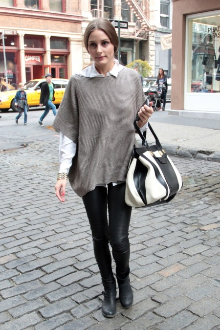 Olivia Palermo Shirt Batwing Taupe Sweater Black Leather Trousers and Biker Boots Black and White Bag StyleChi