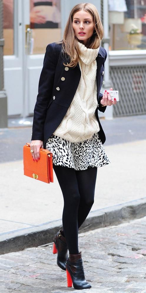 Olivia Palermo Skirt Navy Military Coat White Polo Neck Black Red Boots StyleChi