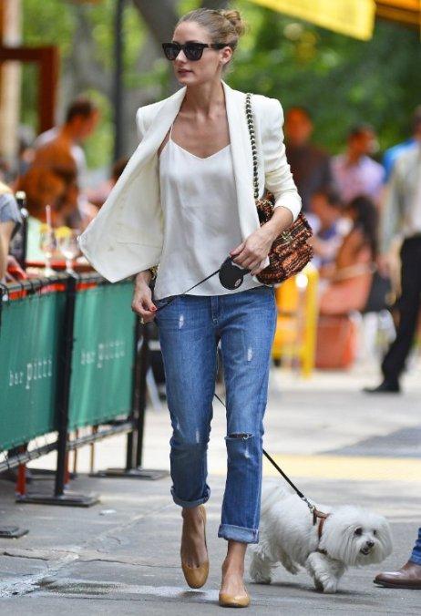 Olivia Palermo Walks Dog Boyfriend Jeans Ballerinas White Blazer Tank Top StyleChi