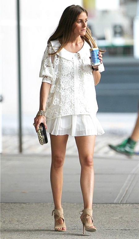 Olivia Palermo White Summer Outfit Skirt Beige Sandals StyleChi