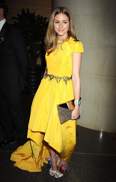 Olivia Palermo Yellow Hi Lo Dress Animal Print CLutch Strappy Sandals StyleChi