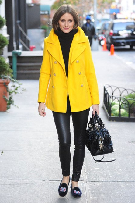 Olivia Palermo Yellow Trench Leather Trousers Velvet Slippers StyleChi