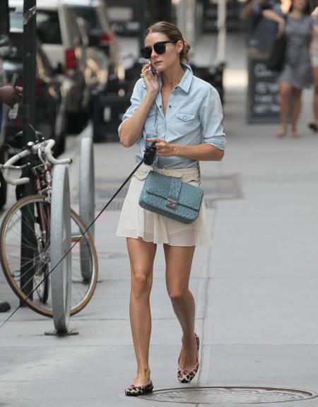 Olivia+Palermo Sunglasses Denim Shirt White Floaty Skirt Animal Print Pink Trim Ballerinas Blue Handbag StyleChi