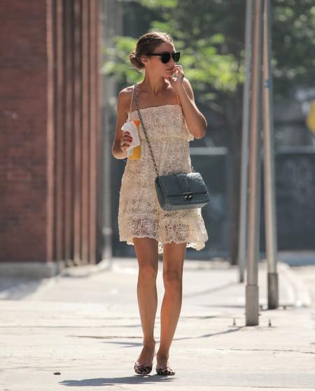 Olivia+Palermo Sunglasses Lace Cream Dress Blue Handbag Animal Print Pink Trim Ballerinas StyleChi