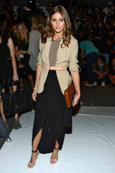 Olivia+Palermo+Rachel+Zoe+Front+Row+Spring Tulip Hi Lo Black Skirt Brown Clutch Beige Belted Jacket StyleChi