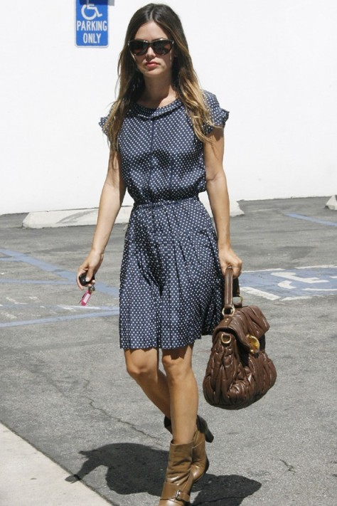 Rachel Bilson Blue Polka Dot Dress Brown Bag Boots Sunglasses StyleChi