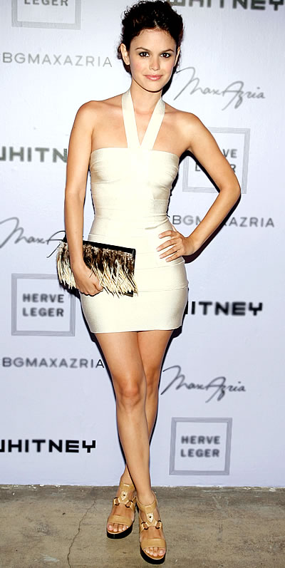 Rachel Bilson Cream Bandage Halterneck Dress Fringed Clutch StyleChi