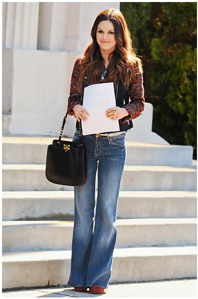 Rachel Bilson Flares Tweed Jacket StyleChi