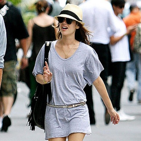 Rachel Bilson Grey Jersey Dress Belt Sunglasses Straw Hat Black Ribbon Fringed Black Bag StyleChi