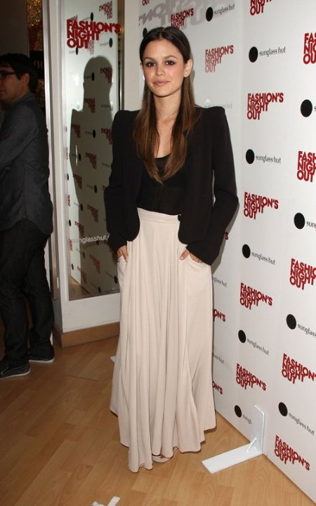 Rachel Bilson Maxi Skirt Black Blazer StyleChi