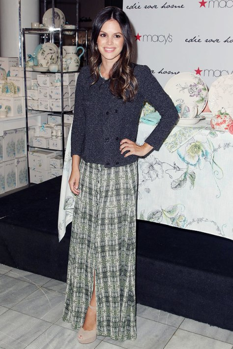 Rachel Bilson Split Patterned Maxi Skirt Tweed Jacket Platform Peep Toes StyleChi