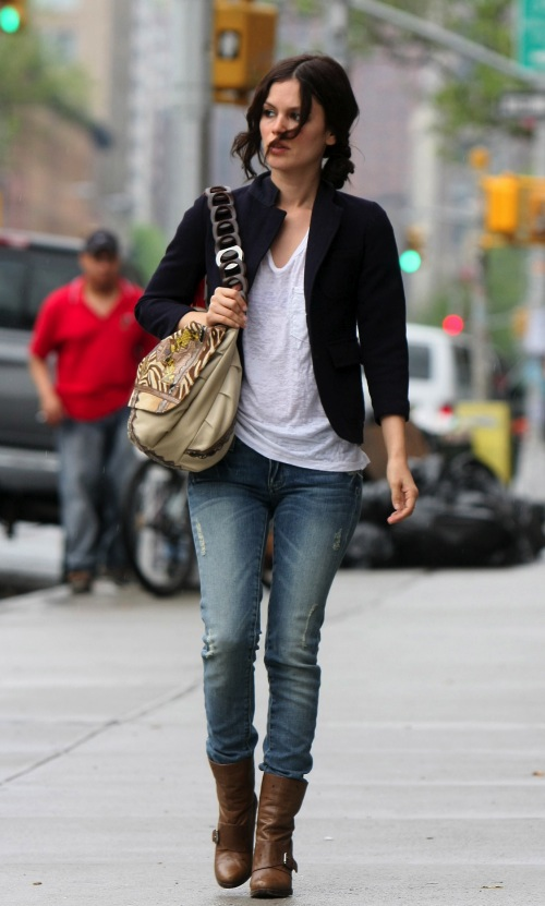 Rachel Bilson StyleChi Black Blazer Ripped Jeans Brown Boots Casual White T-Shirt