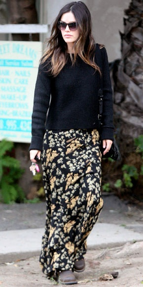 Rachel Bilson StyleChi Black Sweater Sunglasses Floral Maxi Skirt
