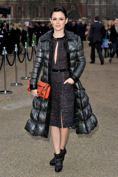 Rachel Bilson StyleChi Burberry Long Grey Puffer Coat Strappy Black Boots Key Hole Front Tweed Dress