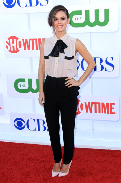 Rachel Bilson StyleChi CW CBS Showtime 2012 Summer Skirted Trousers Black And White Blouse