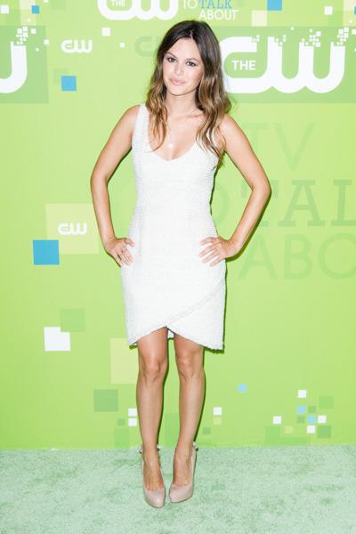 Rachel Bilson StyleChi CW V Neck Tulip Front Dress Nude Heels
