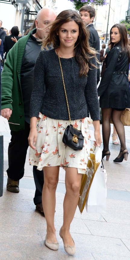 Rachel Bilson StyleChi Dark Grey Tweed Jacket Patterned Skirt Cream Ballerinas