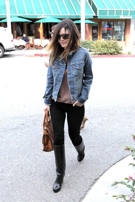 Rachel Bilson StyleChi Denim Jacket Brown Bag Black Jeans Knee High Black Boots Sunglasses