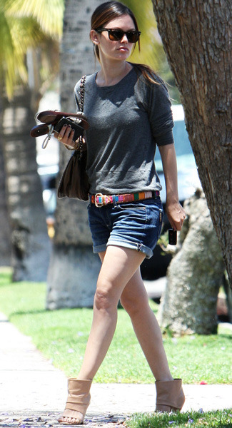 Rachel Bilson StyleChi Denim Shorts Sweater Sandal Boots Nude Sunglasses