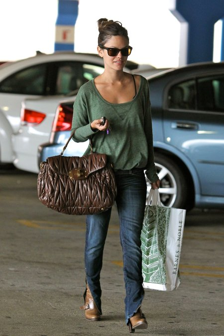 Rachel Bilson StyleChi Green Long Sleeve Top Jeans Quilted Brown Bag Boots Sunglasses