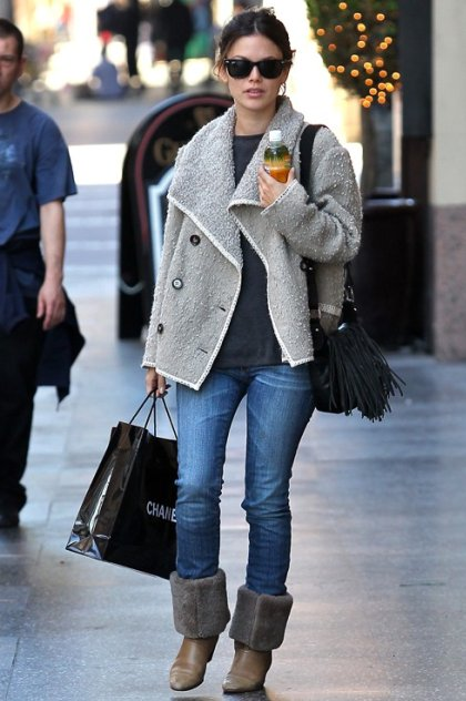 Rachel Bilson StyleChi Grey Tweedy Jacket Black Fringe Bag Sunglasses Jeans Brown Boots Fur Shopping Chanel