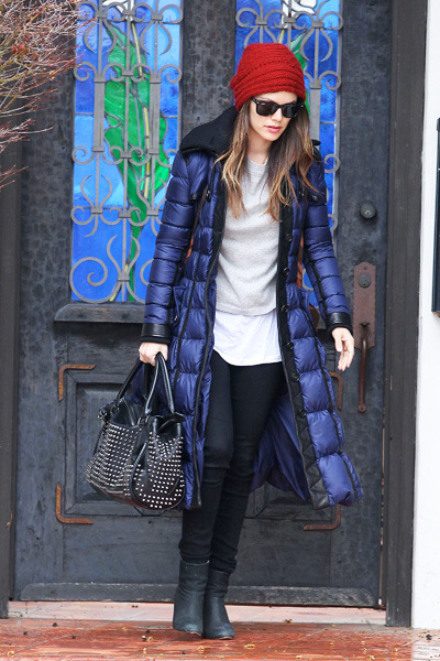 Rachel Bilson StyleChi Long Electric Blue Puffer Jacket Red Knitted Hat Studded Handbag Black Jeans Boots Grey Top