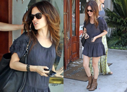 Rachel Bilson StyleChi Navy Dress Brown Boots Sunglasses