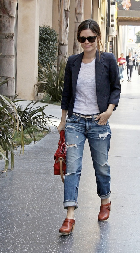 Rachel Bilson StyleChi Ripped Boyfriend Jeans Blazer Red Clogs Bag Sunglasses White T-Shirt