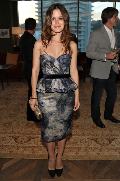 Rachel Bilson StyleChi Strapless Peplum Dress Grey Blue